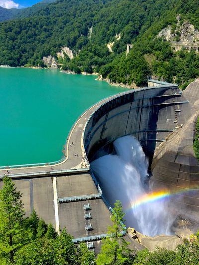 Been There. Water Built Structure High Angle View Dam Tree River Architecture Nature Day No People Outdoors Japan Photography Nagano, Japan Kurobe Dam EyeEmNewHere The Week On EyeEm A Huge Building Travel Destinations Rainbow