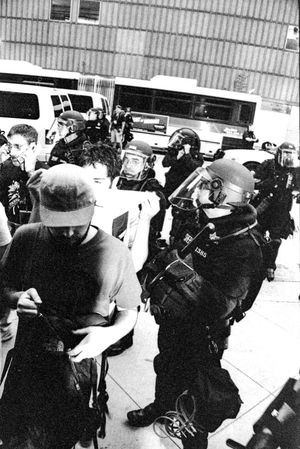 Protests at the 2008 Democratic National Convention (DNC) 2008 Democratic National Convention Black & White Film Protest Black And White Black And White Photography Blackandwhite Blackandwhite Photography Civil Disturbance Film Photography Police Police Force Protesters Riot Police Tri-x 400 Pushed