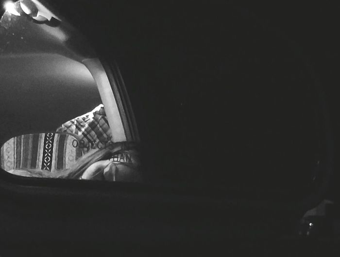 Night Night, Sleep Tight Portrait Blackandwhite B&w Traveling Real People Rear View Rearview Mirror Sleeping Chattanooga Tennessee Car Hixson Driving Car Lights Meinautomoment Fine Art Photography Shootermag