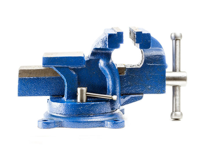 Blue steel vise on white background Studio Shot White Background Indoors  Blue Still Life Close-up No People Cut Out Metal White Color Single Object Metalwork Tool Visé Workshop