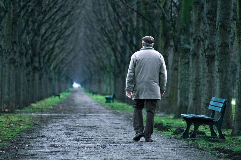 Rear view of old man walking on footpath