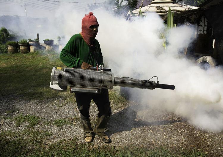 Man using smoke machine