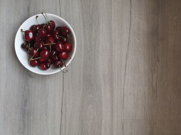 Cherry bowl Cherry Desk Light Light And Shadow White Healthy Food Healthy Eating Gray Background Top View Copy Space Place For Text Table Food Food And Drink Fruit Red Studio Shot Wood - Material Plate Table Bowl Close-up