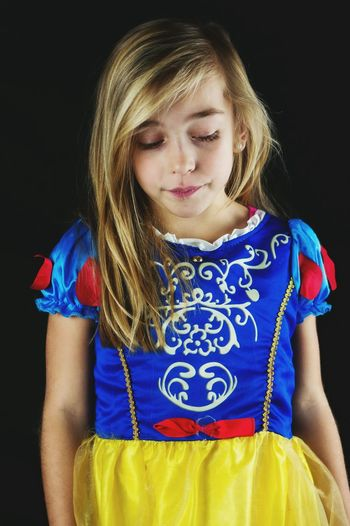 Blue Studio Shot Child Children Only One Person Blond Hair Black Background One Girl Only Childhood Front View Portrait People Looking Down Standing Dressup Waist Up Girl Snowwhite Cute Adorable Lovely Cosplay Costume Disney Children Photography Uniqueness The Portraitist - 2017 EyeEm Awards