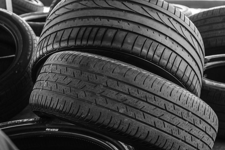 Tire Car Close-up No People Car Stuff Black Tires Stacked Up Fresh On Market 2017