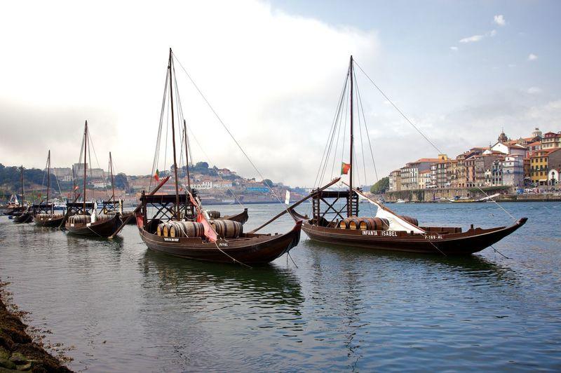 Port transport boats, Rio Douro, Porto. Boat Douro  Famous Place Moored Nautical Vessel Port Wine Porto Sailboat Waterfront