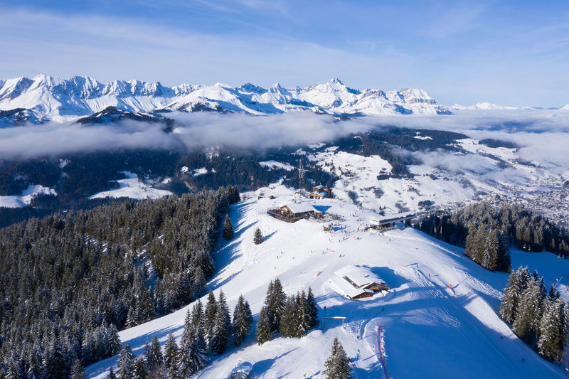 Aerial view of people at ski resort
