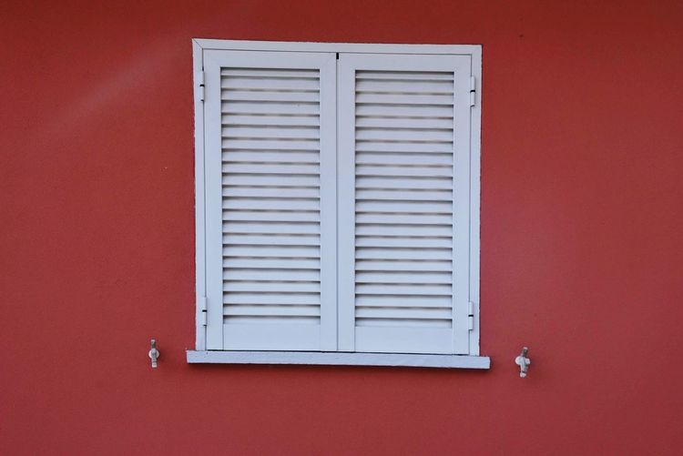 Window Built Structure Building Exterior Architecture Wall - Building Feature No People Red Window Day Close-up Shutter Closed Wall Security White Color Pattern Safety Metal Building Protection Outdoors