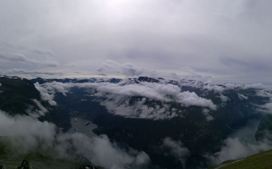 Panoramic Pano High Angle View over the Fjordsofnorway Geirangerfjord Geiranger National Park Hike Views Water Scenics Leisure Activity Travel Destinations Clouds Birds Eye View Like A Bird Nature Hwaweip9 Miles Away