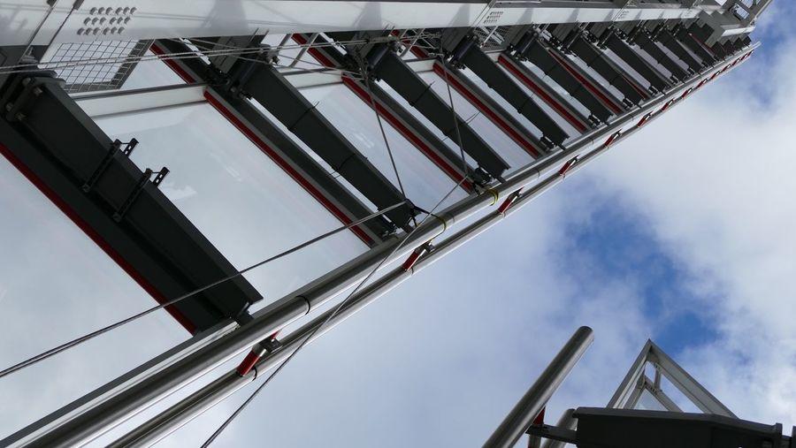 Directly below shot of ladder on shard london bridge against sky