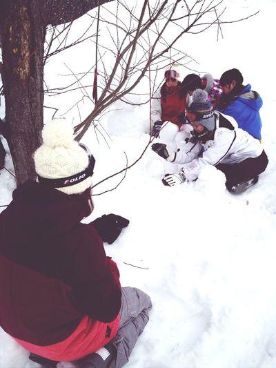 合宿2日目!今からお昼!仲間待ちで、SnowMan作り(ノ)'ω`(ヾ)