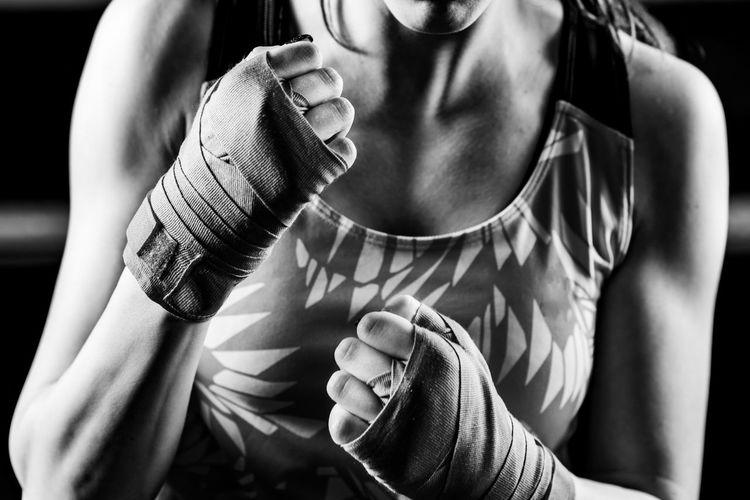 Portrait of female boxer