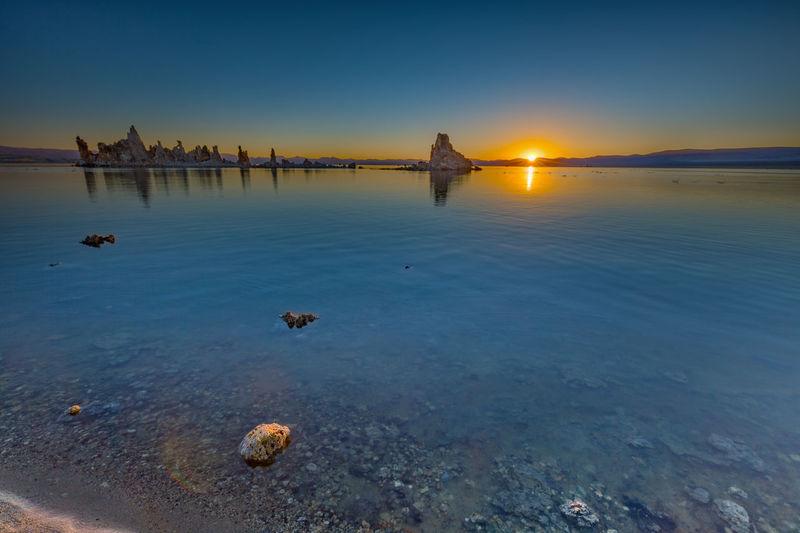 Scenic view of mono lake at sunset