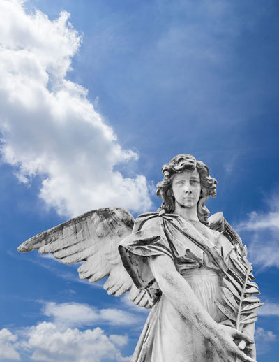 God Ancient Angel Angelic Antique Art Background Beautiful Catholic Cemetery Christian Death Easter Faith Female Funeral Grave Graveyard Guardian Heaven Holy Marble Monument Old Peace Peaceful Pray Prayer Religion Religious  Sad Sadness Sculpture Sorrow Statue Stone Symbol White Winged Wings Sky Clouds Vertical