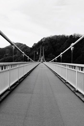 Black And White Friday The Way Forward Railing Connection Bridge - Man Made Structure Transportation Day Outdoors Sky Suspension Bridge Footbridge Mountain No People Road Architecture Tree