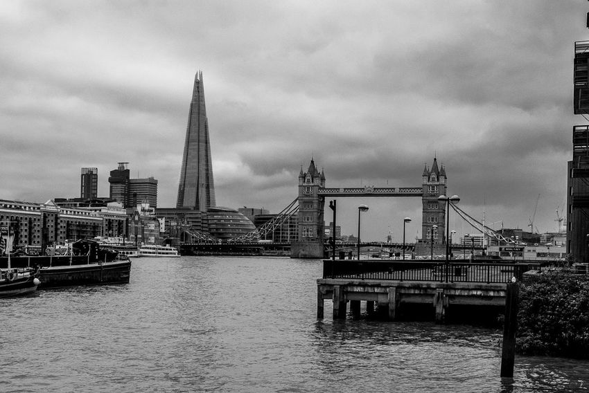 Tower Bridge and the Shard from Wapping Pierhead Bridge Tower Bridge  Shard Architecture Thames FUJIFILM X-T2 Monochrome Wapping Monochrome Photography Black And White London FUJIFILMXT2 Docklands