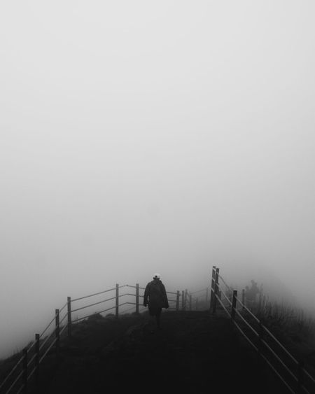 Prison Fog Winter Cold Temperature Full Length Silhouette Walking Railing Sky Landscape