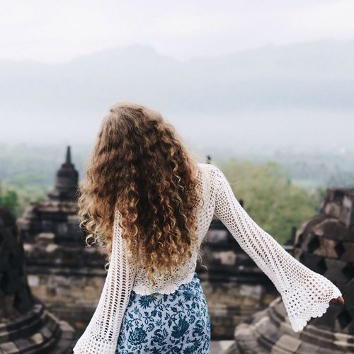 Borobudur Temple Borobudur Temple Travel Curly Hair Long Hair Crochet Boho Batik