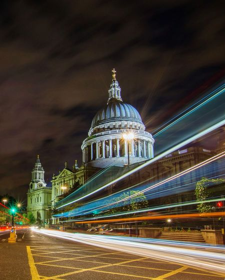 Light trails at St Paul's Nightphotography Light Trail Long Exposure Night Lights Nikon Nikonphotography Night Night Photography London St Paul's Cathedral Streetphotography Street Urban Illuminated Cityscape Dome Long Exposure Sky Architecture Building Exterior Built Structure Street Scene Speed Light Painting Capture Tomorrow 17.62°