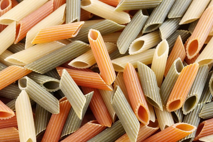 Multicolor dry penne rigate pasta. Full Frame Italian Food Backgrounds Large Group Of Objects Abundance Studio Photography Natural Light Italian Pasta Dry Pasta UnykaProductions Close-up No People Raw Food Penne Rigate Pasta Penne Multicolored Carrot Pasta Spinach Pasta Egg Pasta