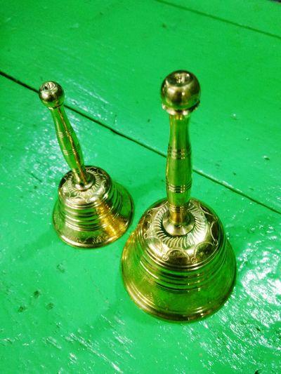 Indoors  Green Color No People Close-up Day Bells Hand Bells Handicraft Work