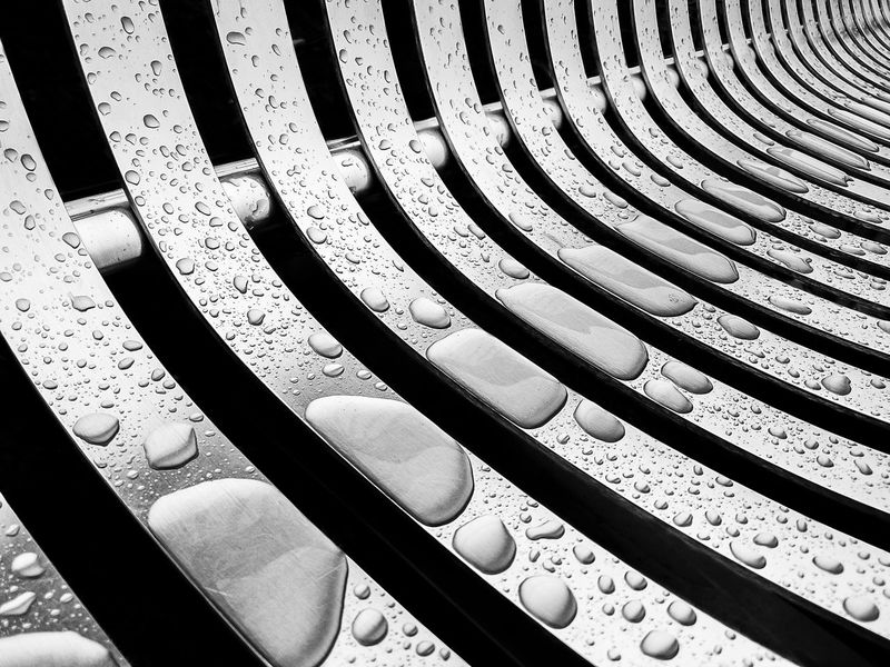 Bench Rain Backgrounds Blackandwhite Built Structure Close-up Design Full Frame In A Row Metal No People Pattern Repetition Side By Side Textured  Water Waterdrops