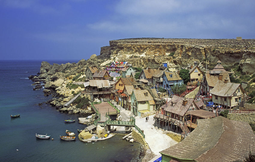 Coastline Malta Mediterranean  Popeye Village Tourist Attraction  Architecture Built Structure Day No People Outdoors Sea Sky Water