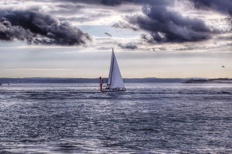 Sunday sailing. Cloud - Sky Sea Sky Water Sailboat Nature Horizon Over Water Waterfront Outdoors Sailing Scenics Nautical Vessel Transportation Recreational Pursuit