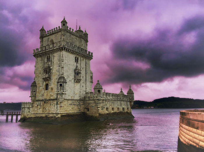 Tower of Belém Traveling Getting Inspired Colors Landscape Water Sky Clouds And Sky Lisbon AMPt_community Architecture