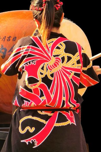 Japanese Drum Creativity Festival Lifestyles One Person Rear View Summer Festival Of Japan Women