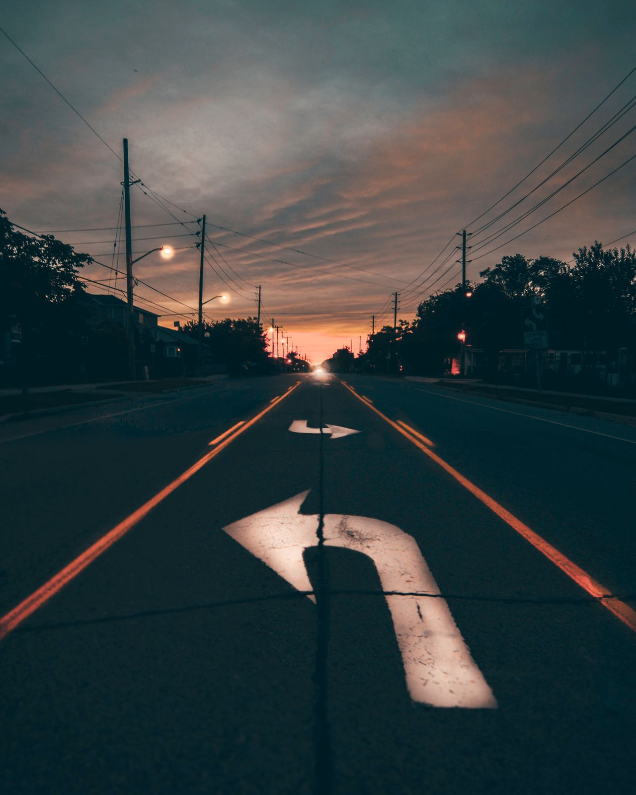 road, transportation, road marking, sunset, street