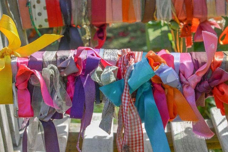 Close-up of multi colored umbrellas