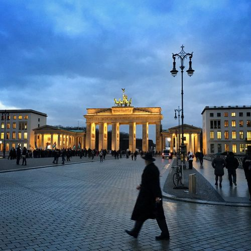 Brandenburger Tor Germany Berlin Architecture Built Structure Building Exterior City Gate Large Group Of People Sky Walking Travel Destinations Real People Outdoors Architectural Column Statue City Illuminated Men Day People Adult