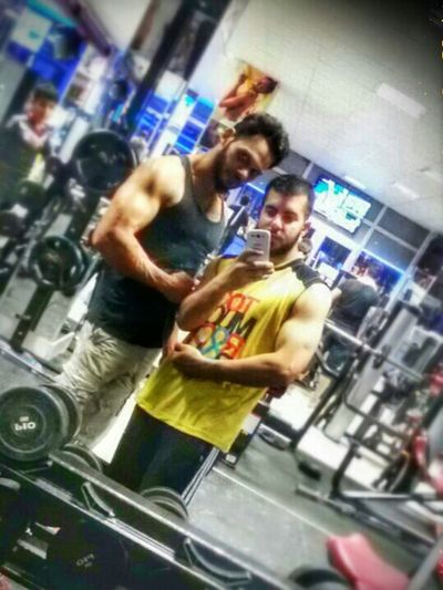 Hi! That's Me With My Friend Train Hard In The Gym