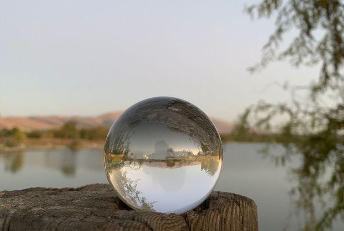 Before sunset Sphere Lensball Twilight Fremont Lake Elizabeth Sphere Glass - Material Water Lake Reflection Crystal Ball Nature