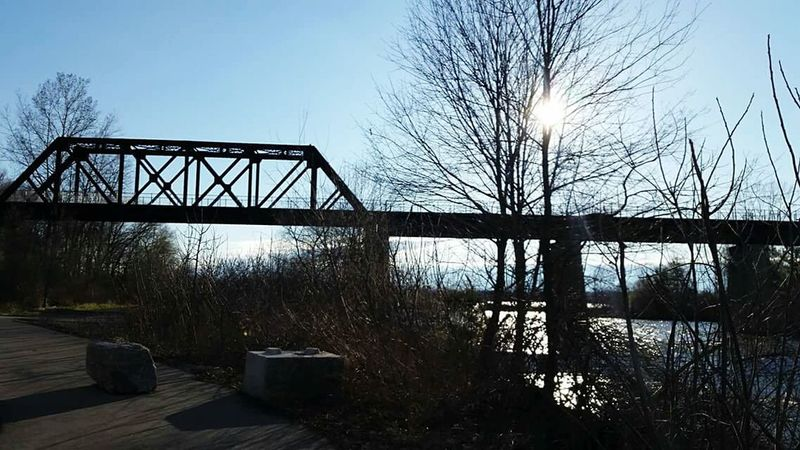Black Bridge Waterford Walking Around Sunny Day Blue Sky