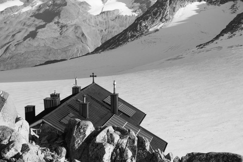 Brandenburger Haus, Austria Alps Always Be Cozy Architecture Blackandwhite Building Exterior Built Structure Chimney Day Glacier Hiking Hikingadventures Hut Monochrome Mountain Mountains Nature No People Outdoors Refugio Roof Scenics Sky Solar ötztal Camp