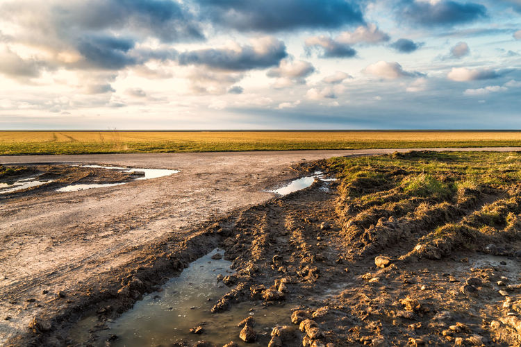 Beauty In Nature Cloud - Sky Day Dirt Environment Field Horizon Horizon Over Land Land Landscape Mud Nature No People Outdoors Rural Scene Scenics - Nature Semi-arid Sky Tranquil Scene Tranquility Water