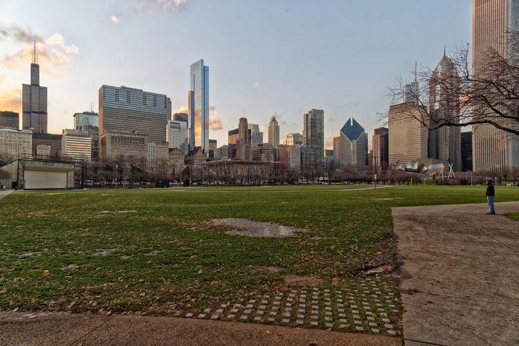 Chicago skyline daylight view from millennium park