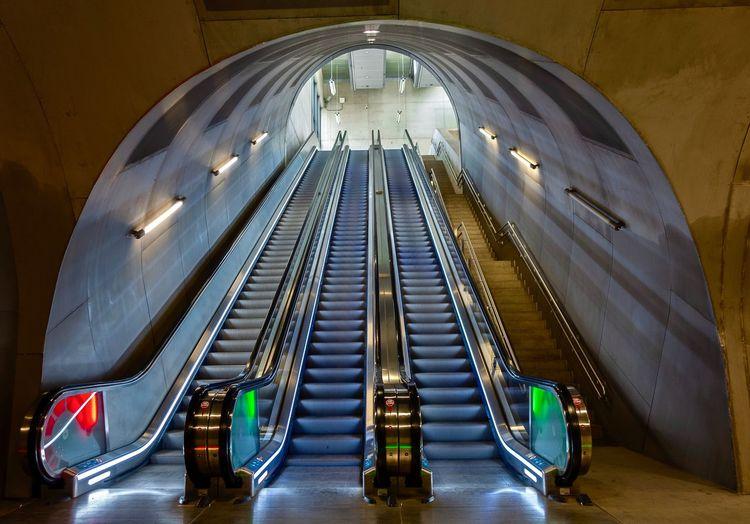 Tunnel at Løren metro #sporveien #ruter #løren #rx100v #Metro #norway #Loren #Oslo Illuminated Architecture Built Structure Indoors  No People Lighting Equipment Building Transportation City