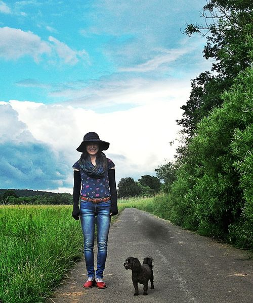 Street Fashion Casualwear Japanese Fashionista Out In The Country Fashion Photography Stylish Girl with her Pet Clouds And Sky Weird Clouds City Style Between Earth And Sky Nature Landscapes Langenselbold Fashion The Fashionist - 2016 EyeEm Awards Germany🇩🇪