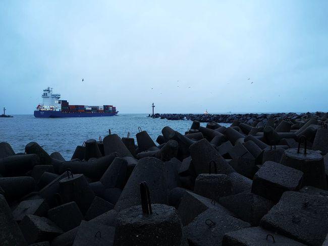 Sea gates i Klaipeda Water UnderSea Nautical Vessel Sea Groyne Beach Bird Sailing Ship Astrology Sign Blue Buoy Seascape Coast Rocky Coastline Tide