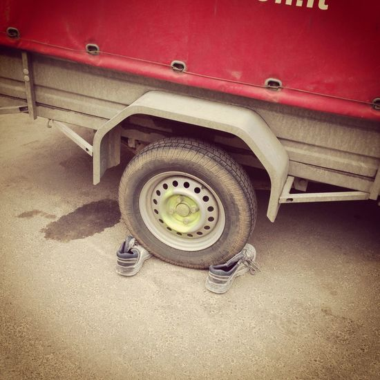 Caring Clever Day Decisions Dust Dusty Fixed Fixing Hitch Land Vehicle Mode Of Transport No People Old Shoes Outdoors Red Shoes Shoes Of The Day Solution Standing Still Technology Tire Trailer Transportation Transportation Vehicle Breakdown