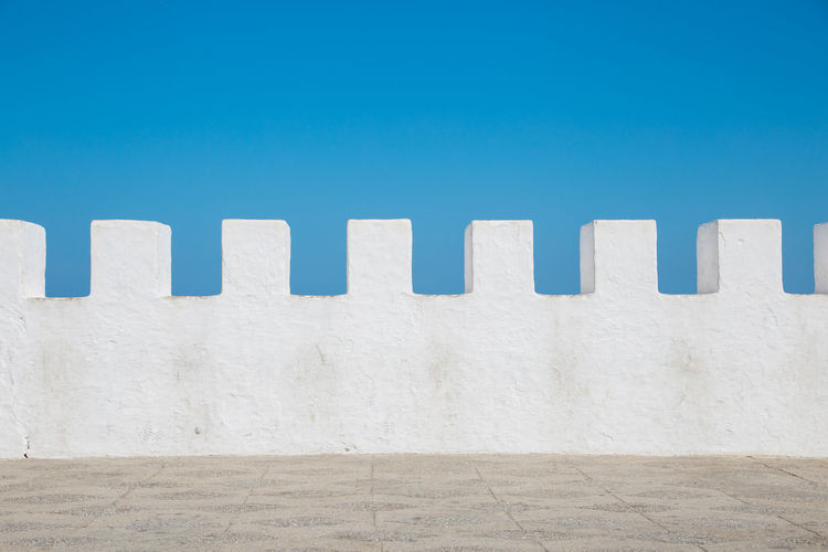 Wall against clear blue sky