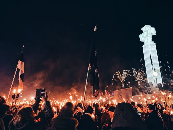 Independence Day 101 year celebration in Estonia. Light Moving Peoplepower Peace Tallinn Torchparade Parade Torch Freedom Independence Day Night Illuminated Group Of People Event Crowd Arts Culture And Entertainment Large Group Of People Real People Enjoyment Celebration Wireless Technology Communication Music Smart Phone Technology Lighting Equipment Fun Architecture Adult Women