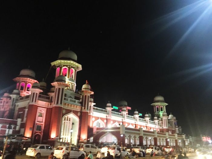 The train hustle Night Architecture Built Structure Building Exterior Illuminated Sky Low Angle View Travel Destinations Building Crowd