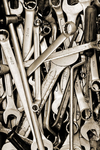 hand tools Auto Repair Repairing Auto Repair Shop Backgrounds Close-up Day Engineering Full Frame Garage Hand Tool Indoors  Large Group Of Objects Metal No People Repair Tool Box Tool Kit Tools Work Tool Wrench