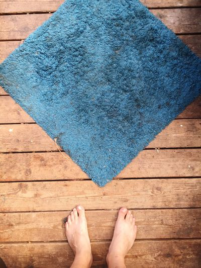 Low section of person standing on floorboard by doormat