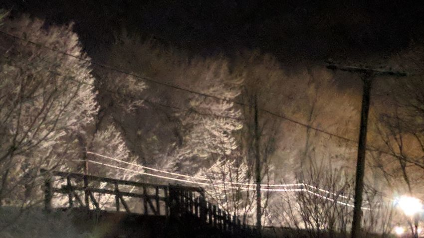 """""""White Night Train"""" """"No Filters"""" Snow darkness and light Train Bridge - Man Made Structure Light And Shadow Light Beam Illuminated No People Night Nature Tree Outdoors"""