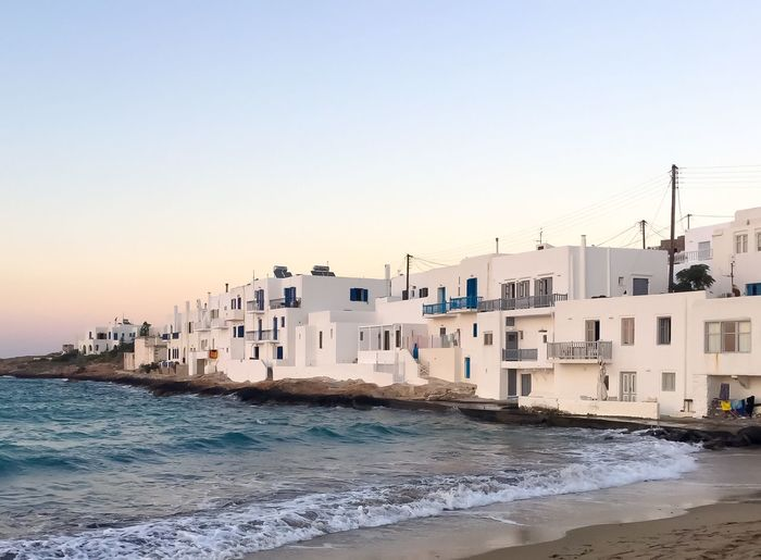 Sea Water Architecture Building Exterior Waterfront Nautical Vessel Built Structure Transportation Clear Sky Outdoors No People Sky Nature Cityscape Day Mykonian Mykonos Greece Sunset Twilight Summer Relax Relaxing Relaxation Houses The Street Photographer - 2017 EyeEm Awards